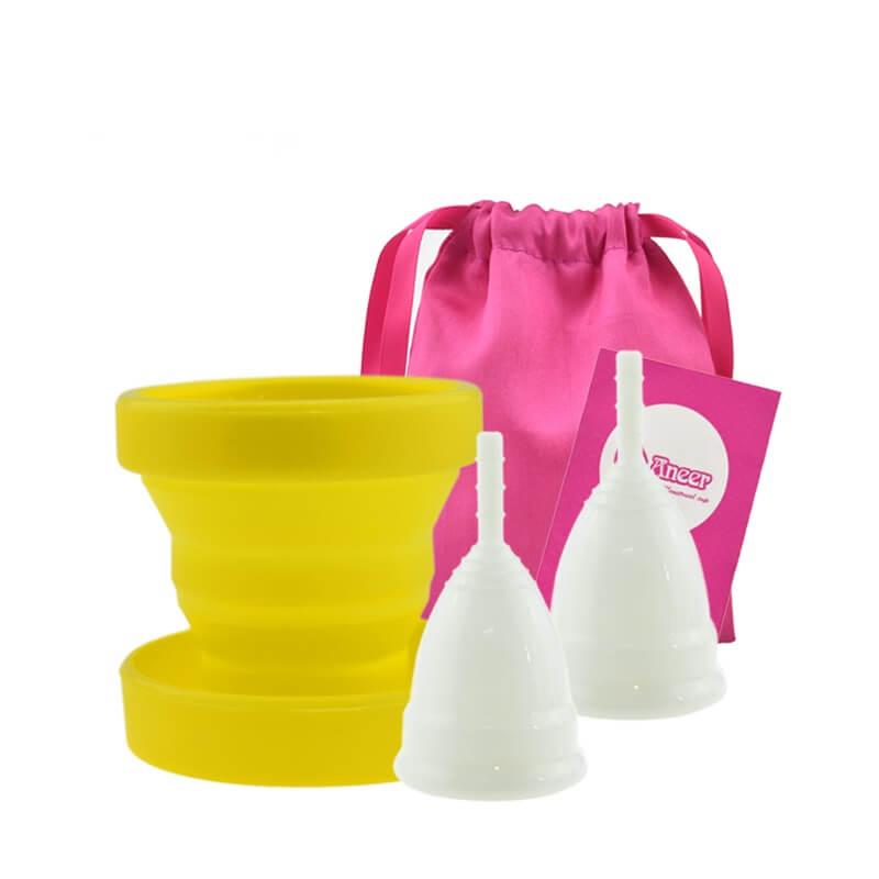 Menstruační sada Aneercare 4v1 s kalíšky S a L (bílý kalíšek)
