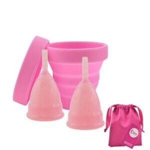 Menstruační sada Aneercare 4v1 s kalíšky S a L (růžový kalíšek)